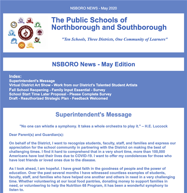 Superintendent's May Update